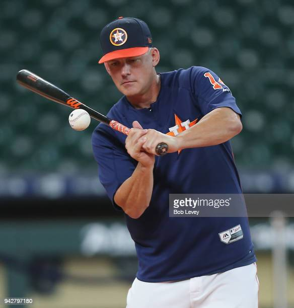 Manager AJ Hinch of the Houston Astros hits during batting practice at Minute Maid Park on April 6 2018 in Houston Texas