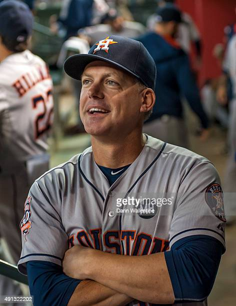 Manager AJ Hinch of the Houston Astros looking on from the dugout prior to a MLB game against the Arizona Diamondbacks on October 4 2015 at Chase...