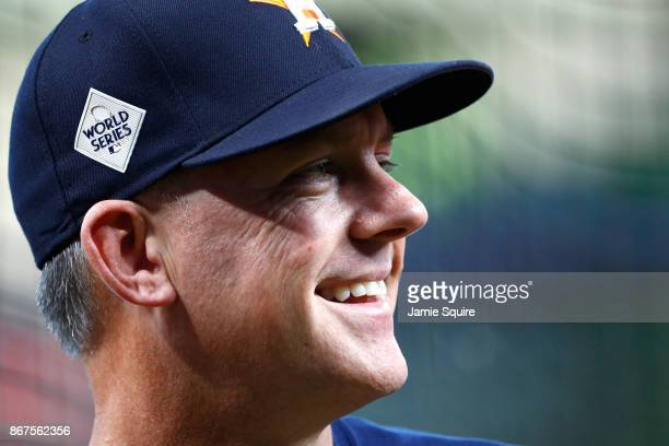 Manager AJ Hinch of the Houston Astros looks on before game four of the 2017 World Series against the Los Angeles Dodgers at Minute Maid Park on...