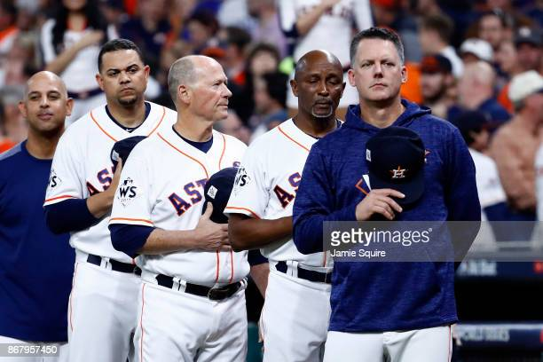 Manager AJ Hinch of the Houston Astros looks on during the national anthem before game five of the 2017 World Series against the Los Angeles Dodgers...