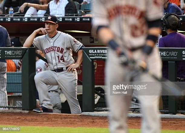 Manager AJ Hinch of the Houston Astros looks on from the bench during the second inning against the Arizona Diamondbacks at Chase Field on May 4 2018...