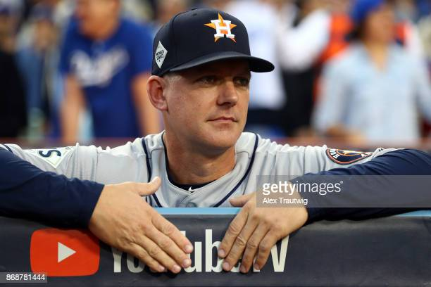 Manager AJ Hinch of the Houston Astros looks on from the dugout during Game 6 of the 2017 World Series against the Los Angeles Dodgers at Dodger...