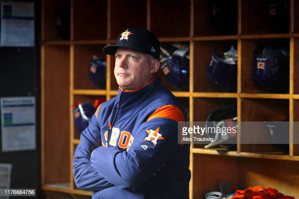 Manager AJ Hinch of the Houston Astros looks on from the dugout prior to Game 5 of the ALCS between the Houston Astros and the New York Yankees at...