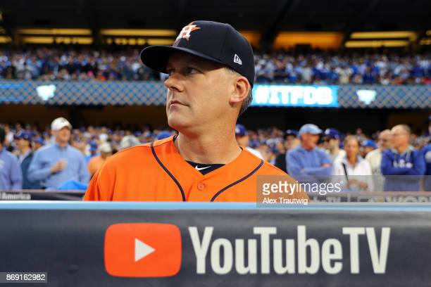 Manager AJ Hinch of the Houston Astros looks on prior to Game 7 of the 2017 World Series against the Los Angeles Dodgers at Dodger Stadium on...