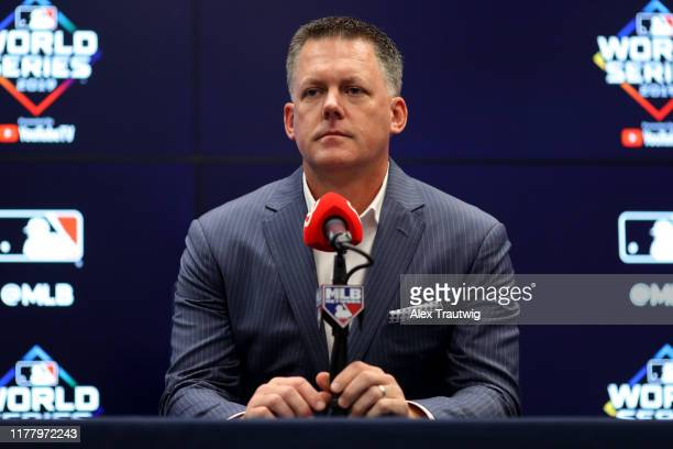Manager AJ Hinch of the Houston Astros talks to the media during the press conference during the World Series Workout Day at Nationals Park on...