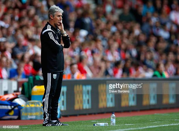 Manager Alan Irvine of West Brom looks on during the Barclays Premier League match between Southampton and West Bromwich Albion at St Mary's Stadium...
