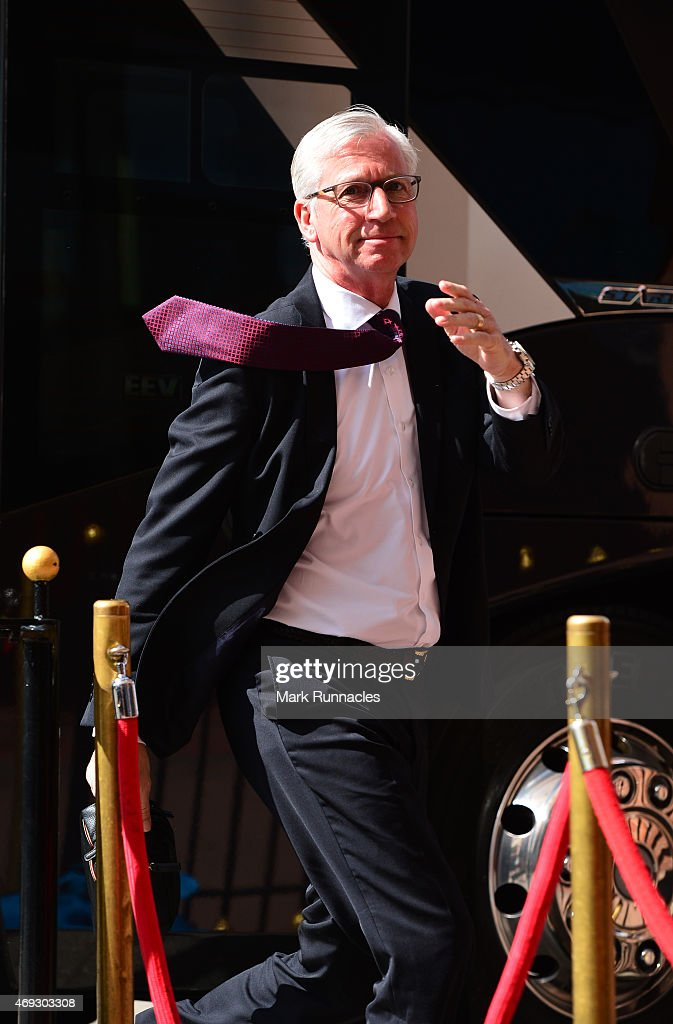 Manager Alan Pardew of Crystal Palace arrives prior to the Barclays Premier League match between Sunderland and Crystal Palace at Stadium of Light on April 11, 2015 in Sunderland, England.