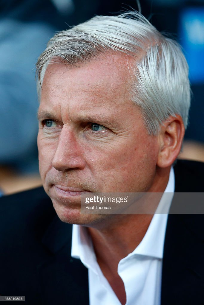 Manager Alan Pardew of Newcastle watches on during the Pre Season Friendly match between Huddersfield Town and Newcastle United at the John Smith's Stadium on August 5, 2014 in Huddersfield, England.