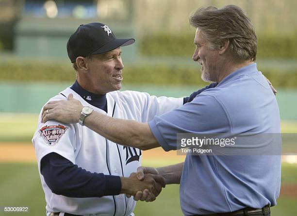 Manager Alan Trammell of the Detroit Tigers greets former player Jack Morris as both took part in a ceremony to launch the Ameriquest offical...