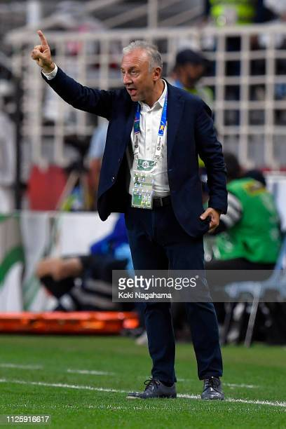 Manager Alberto Zaccheroni instructs his team the AFC Asian Cup semi final match between Qatar and United Arab Emirates at Mohammed Bin Zayed Stadium...