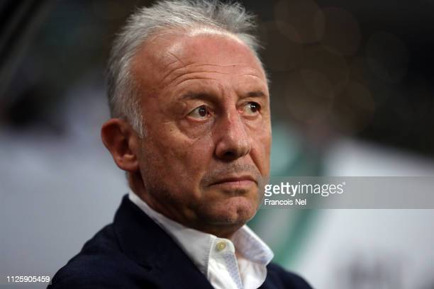 Manager Alberto Zaccheroni looks on prior to the AFC Asian Cup semi final match between Qatar and United Arab Emirates at Mohammed Bin Zayed Stadium...