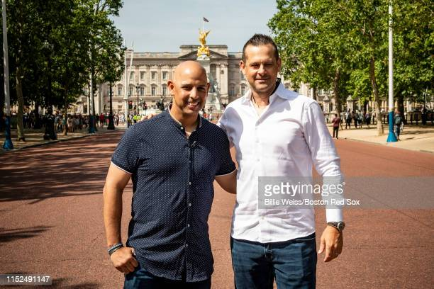 Manager Alex Cora of the Boston Red Sox and Manager Aaron Boone of the New York Yankees pose during a photo opportunity during the Changing of the...