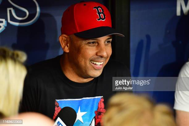 Manager Alex Cora of the Boston Red Sox answers questions from reporters prior to a baseball game against the Tampa Bay Rays at Tropicana Field on...