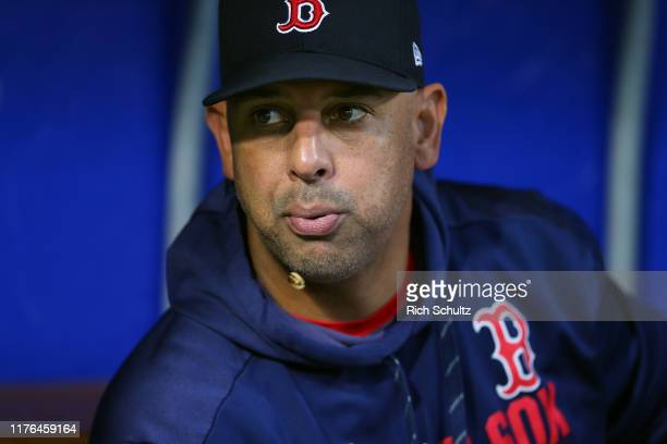 Manager Alex Cora of the Boston Red Sox before a game against the Philadelphia Phillies at Citizens Bank Park on September 14, 2019 in Philadelphia,...