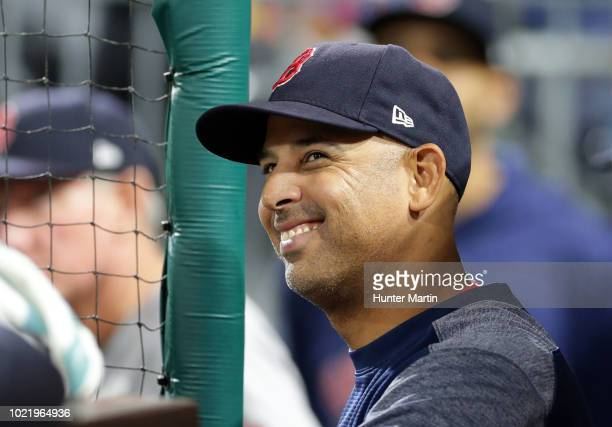 Manager Alex Cora of the Boston Red Sox during a game against the Philadelphia Phillies at Citizens Bank Park on August 14 2018 in Philadelphia...