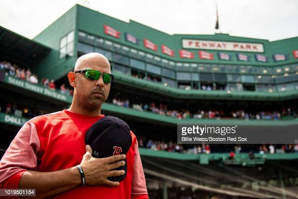 Manager Alex Cora of the Boston Red Sox looks on before game against the Tampa Bay Rays on August 19 2018 at Fenway Park in Boston Massachusetts