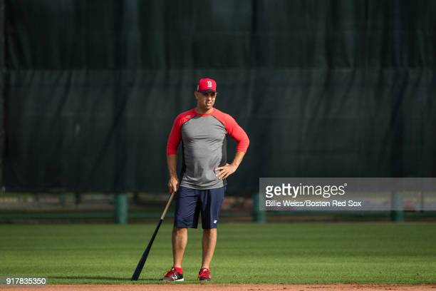 Manager Alex Cora of the Boston Red Sox looks on during a team workout on February 13 2018 at Fenway South in Fort Myers Florida