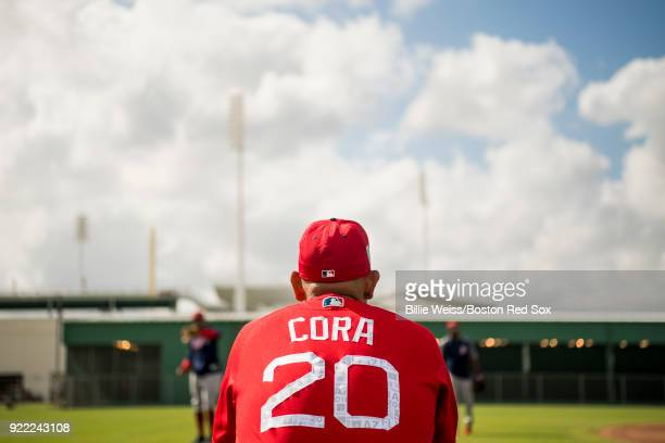 Manager Alex Cora of the Boston Red Sox looks on during a team workout on February 21 2018 at jetBlue Park at Fenway South in Fort Myers Florida