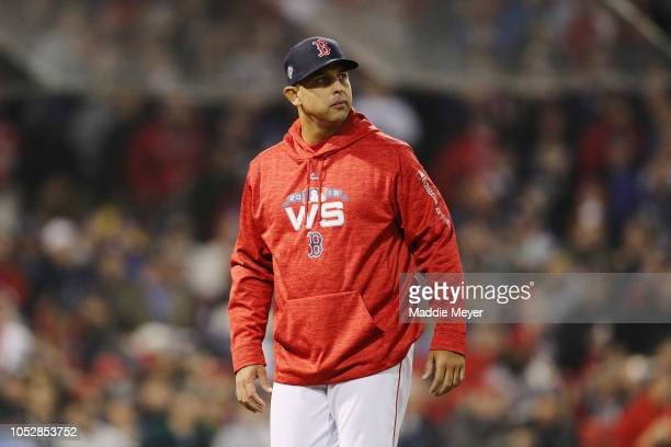 Manager Alex Cora of the Boston Red Sox looks on during the first inning against the Los Angeles Dodgers in Game One of the 2018 World Series at...