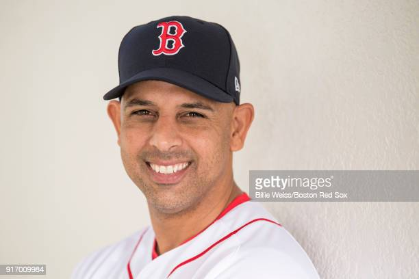 Manager Alex Cora of the Boston Red Sox poses for a portrait during a team workout on February 11 2018 at Fenway South in Fort Myers Florida