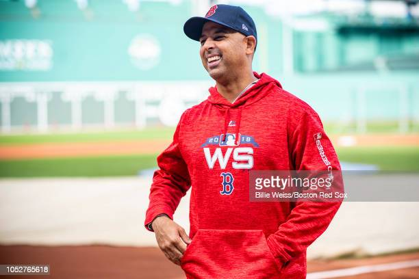 Manager Alex Cora of the Boston Red Sox reacts during a workout before the 2018 World Series on October 22 2018 at Fenway Park in Boston Massachusetts