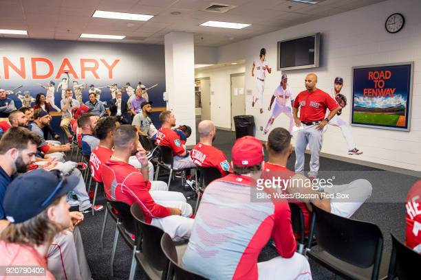 Manager Alex Cora of the Boston Red Sox speaks during a team meeting before a team workout on February 19 2018 at jetBlue Park at Fenway South in...