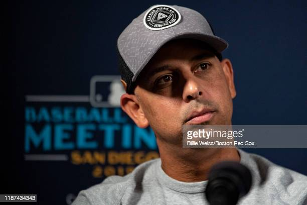 Manager Alex Cora of the Boston Red Sox speaks with the media during the 2019 Major League Baseball Winter Meetings on December 9 2019 in San Diego...
