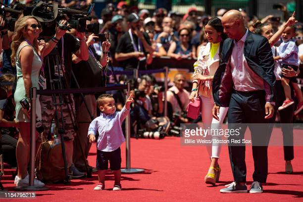 Manager Alex Cora of the Boston Red Sox walks the red carpet during the 2019 Major League Baseball AllStar Game Red Carpet event at Progressive Field...