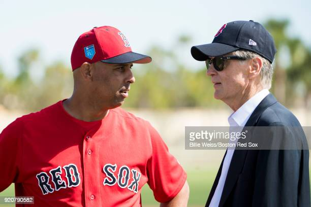 Manager Alex Cora speaks with Principal Owner John Henry of the Boston Red Sox during a team workout on February 19 2018 at jetBlue Park at Fenway...