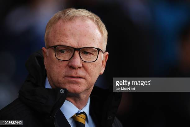 Manager Alex McLeish of Scotland is pictured prior to the International Friendly match between Scotland and Belgium at Hampden Park on September 7...