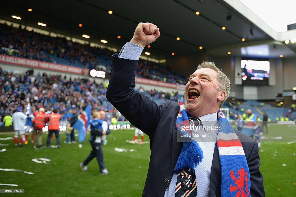 Manager Ally McCoist of Rangers celebrates following his team's victory over Berwick Rangers at Ibrox Stadium on May 4, 2013 in Glasgow, Scotland.