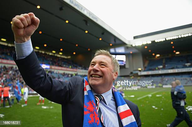 Manager Ally McCoist of Rangers celebrates following his team's victory over Berwick Rangers at Ibrox Stadium on May 4 2013 in Glasgow Scotland