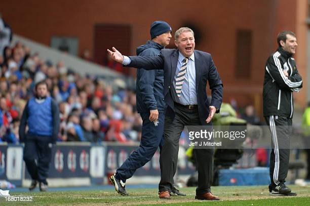 Manager Ally McCoist of Rangers reacts during the IRN BRU Scottish Third Division match between Rangers and Berwick Rangers at Ibrox Stadium on May 4...