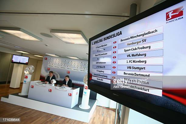DFL manager Andreas Rettig presents the 2013/2014 Bundesliga playing schedule during a press conference at the DFL headquarters on June 21 2013 in...