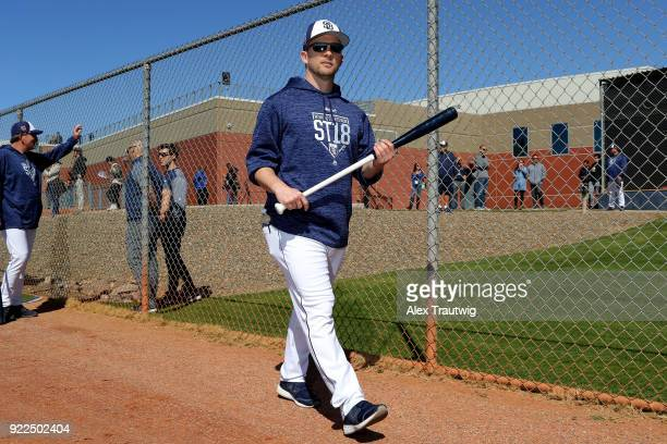 Manager Andy Green of the San Diego Padres looks on during workouts on Tuesday February 20 2018 at the Peoria Sports Complex in Peoria Arizona