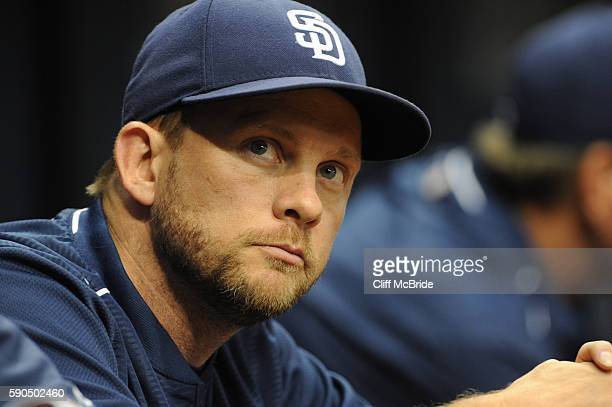 Manager Andy Green of the San Diego Padres looks on from the bench in the fourth inning against the Tampa Bay Rays on August 16 2016 at Tropicana...