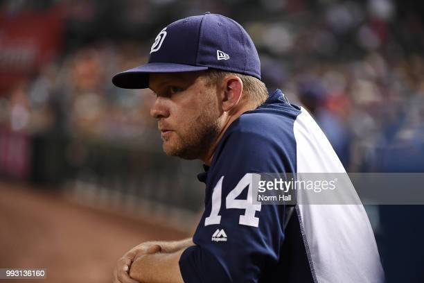 Manager Andy Green of the San Diego Padres looks on from the bench during the third inning against the Arizona Diamondbacks at Chase Field on July 6...