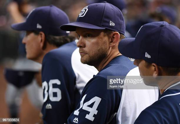 Manager Andy Green of the San Diego Padres looks on from the bench against the Arizona Diamondbacks at Chase Field on July 8 2018 in Phoenix Arizona
