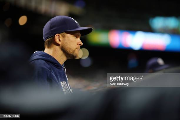 Manager Andy Green of the San Diego Padres looks on from the dugout during the game against the New York Mets at Citi Field on Tuesday May 23 2017 in...