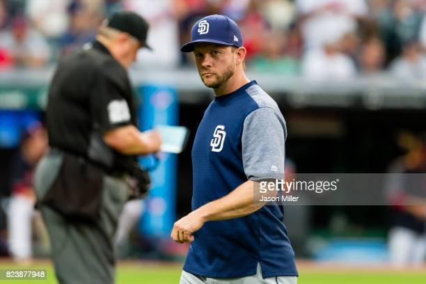Manager Andy Green of the San Diego Padres walks off the field during the fifth inning against the Cleveland Indians at Progressive Field on JULY 6...