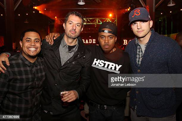 Manager Anthony Aymen Saleh businessman Guy Oseary rapper Nas and actor Ashton Kutcher attend AGRADE And Nas Live from Austin on March 8 2014 in...