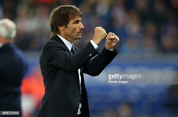 Manager Antonio Conte celebrates Cesc Fabregas' goal to make it 23 in extra time during the EFL third round cup match between Leicester City and...