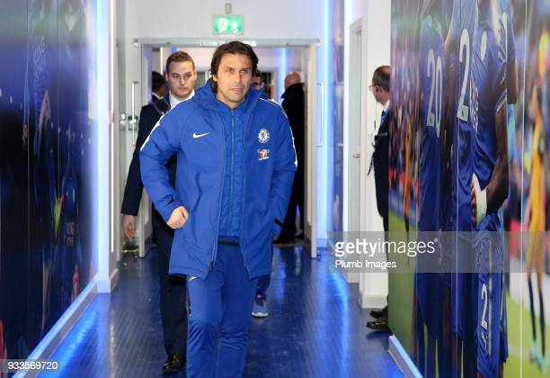 Manager Antonio Conte of Chelsea arrives at King Power Stadium ahead of The Emirates FA Cup Quarter Final tie between Leicester City and Chelsea at...