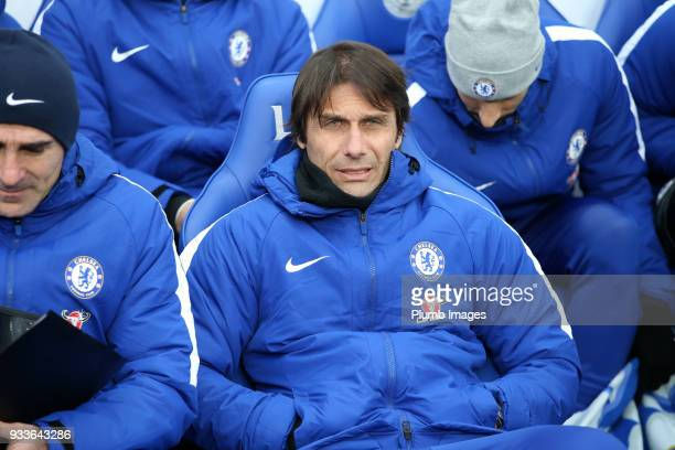 Manager Antonio Conte of Chelsea at King Power Stadium ahead of The Emirates FA Cup Quarter Final tie between Leicester City and Chelsea at King...