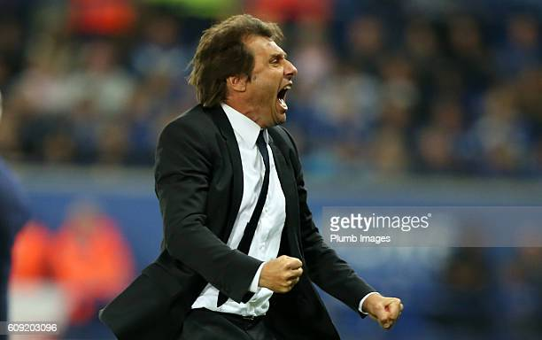 Manager Antonio Conte of Chelsea celebrates after cess Fabregas of Chelsea scores to make it 24 during the EFL third round cup match between...