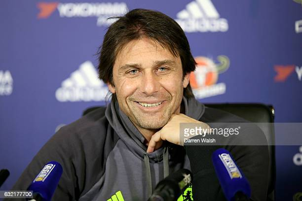 Manager Antonio Conte of Chelsea during a press conference at Chelsea Training Ground on January 20 2017 in Cobham England