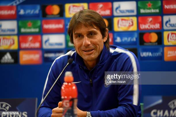 Manager Antonio Conte of Chelsea during a press conference at Stadio Olimpico on October 30 2017 in Rome Italy