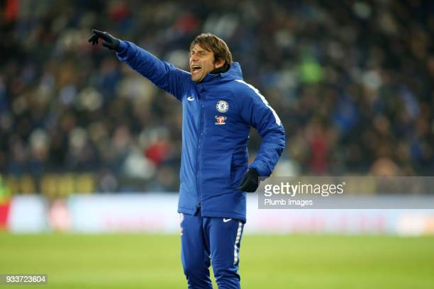 Manager Antonio Conte of Chelsea during The Emirates FA Cup Quarter Final tie between Leicester City and Chelsea at King Power Stadium on March 18...