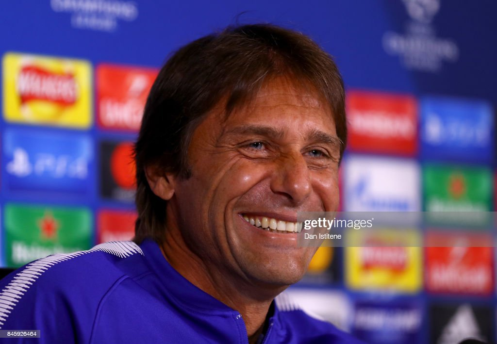 Manager Antonio Conte of Chelsea speaks to the media in a press conference ahead of thier UEFA Champions League group C match against FK Qarabag at Chelsea Training Ground on September 11, 2017 in Cobham, England.