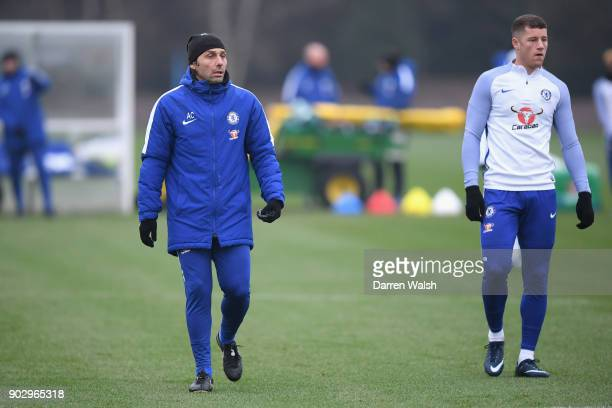 Manager Antonio Conte Ross Barkley of Chelsea during a training session at Chelsea Training Ground on January 9 2018 in Cobham England